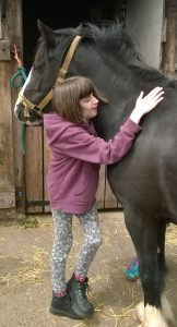 A young person looking after the horses at Elm Tree Farm
