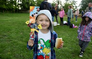 Five-year-old Finley enjoys the farm fun day
