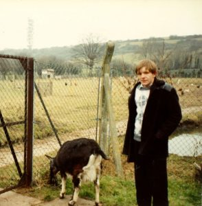 A young Terry with the farm animals